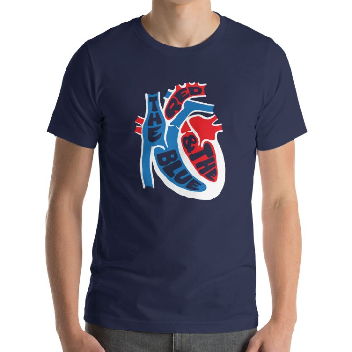 red and the blue footbal shirt