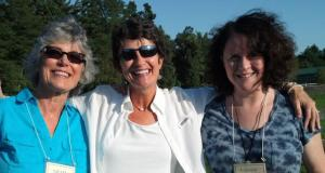 Leah, Marcia, and Carrie enjoying an evening during the Haden Institute.