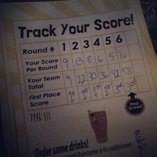 """It's an exciting night for the """"Slow Children Playing"""" pub trivia team! Held our own in 1st place until the dreaded music round. Came in 3rd - first time in the ranks! #beermakesussmart"""