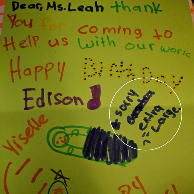 "Loving all the thank you cards I got on my last day volunteering with the Girls Inc. after school program. It's nice to know there is some sympathy out there for when I have my ""extra large baby."""