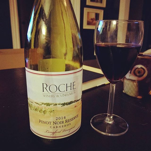 Baby's in bed before 8:30pm! Celebrating adult time and #nationalpinotnoirday with some delicious wine from @rochewinery.