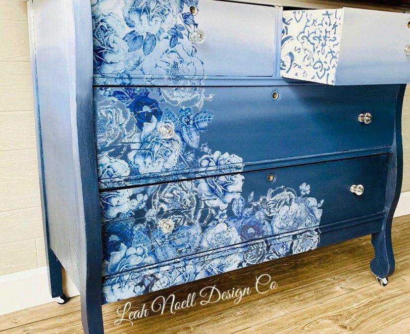 Blue Ombre Floral Dresser