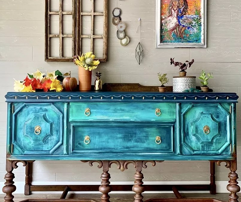 Beachy Bohemian Buffet Makeover