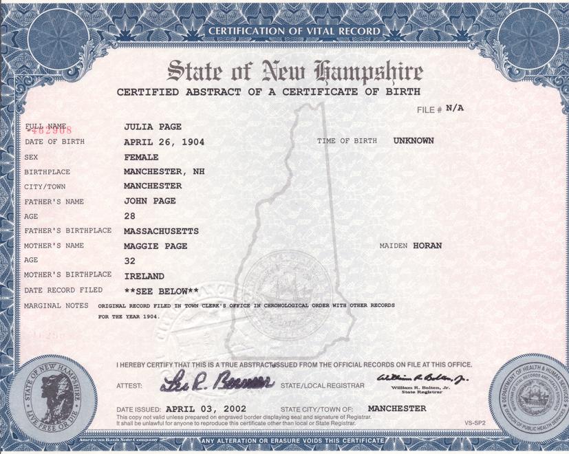 Manchester Connecticut Birth Certificate