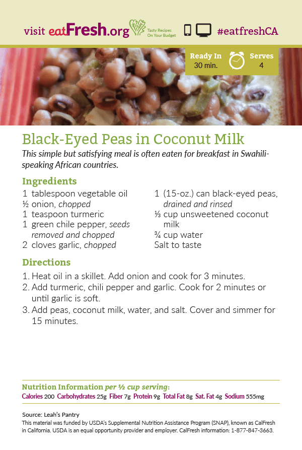 Black Eyed Peas in Coconut Milk