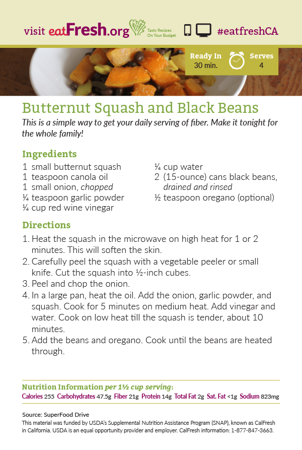 Butternut Squash and Black Beans