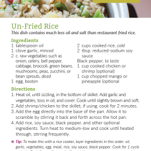 Un-Fried Rice Recipe Card