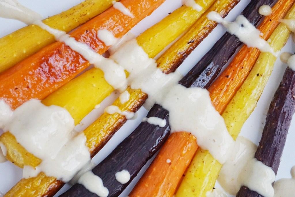 Roasted Rainbow Carrots with a Maple Tahini Sauce4 1024x684 - Roasted Rainbow Carrots with a Maple Tahini Sauce