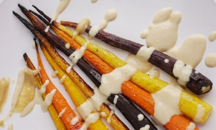 Roasted Rainbow Carrots with a Maple Tahini Sauce