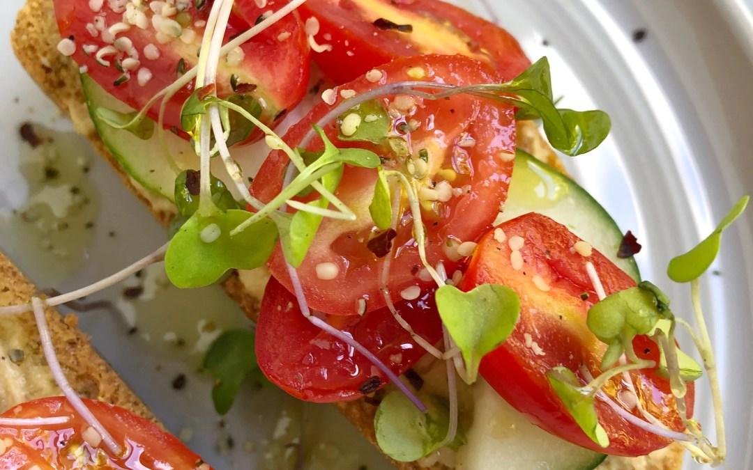 Hummus Cucumber Tomato Toast