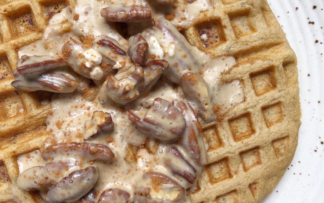 Paleo Pecan Waffles with a Pecan Praline Sauce