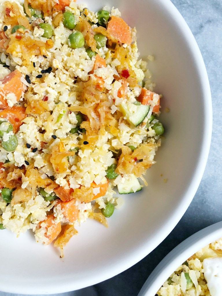 Sriracha Ginger Cauliflower Kraut Fried Rice (Gluten-Free)