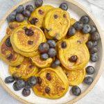 sweet potato blueberry pancakes scaled - Mini Sweet Potato Blueberry Pancakes (Gluten-Free)