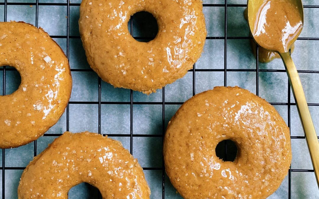 Paleo Apple Cider Donuts with a Salted Caramel Glaze