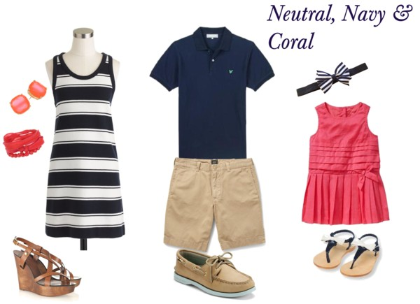 neutral, navy and coral