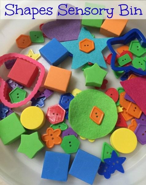 shapes sensory bin