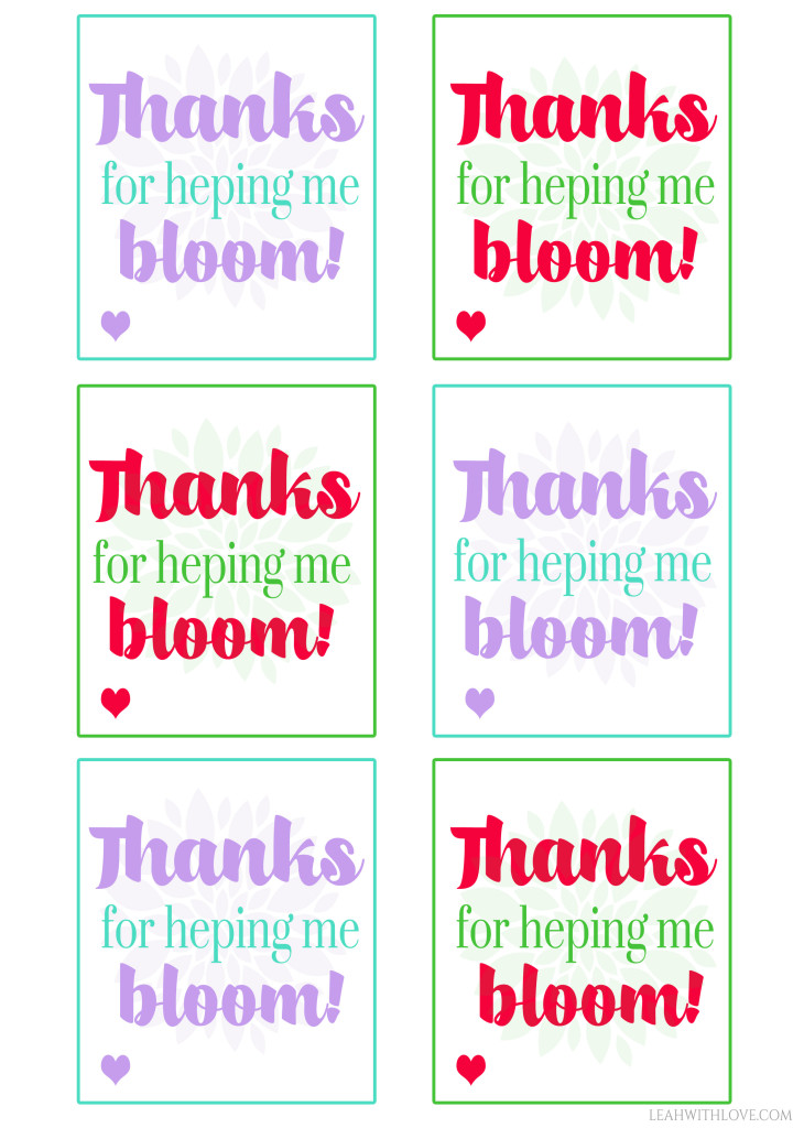 It's just a picture of Clever Thanks for Helping Me Bloom Printable