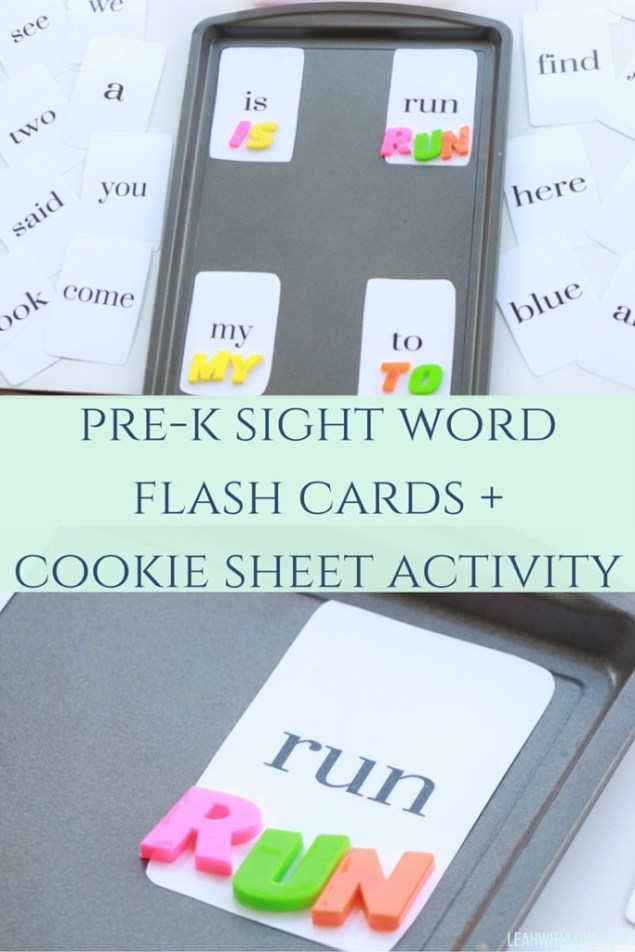 pre-k sight word cards +cookie sheet activity