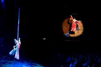 Celebrity Cruise Lines - Solstice, Leandra flying and wearing red costume Take Four