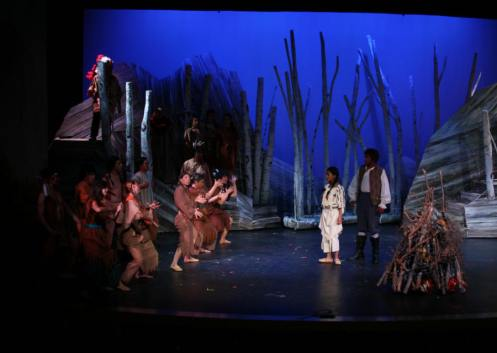 Leandra Ramm picture, wearing a brown Indian costume in a play Take One