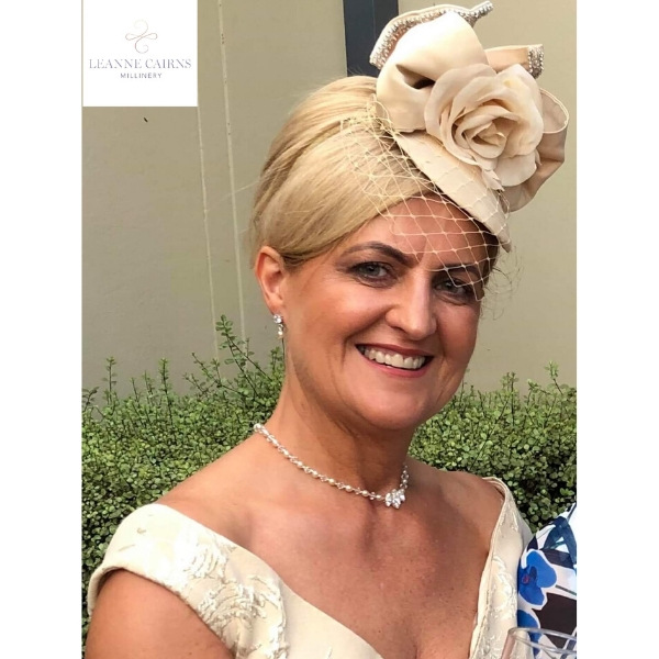 Bespoke Biscuit and champagne Button Satin Cocktail Wedding Hat with silk flower and swarovski bow trim Mother of the bride hat