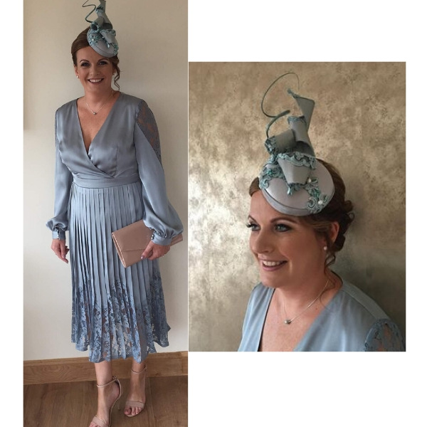 Made to order unique cocktail wedding hat, wedding fascinator in silk and lace, aqua blue for mother of the bride, wedding guest or racing attendee at day at the races