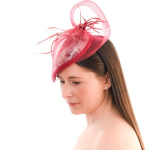 Claret Wine Cocktail Hat side view with model looking down