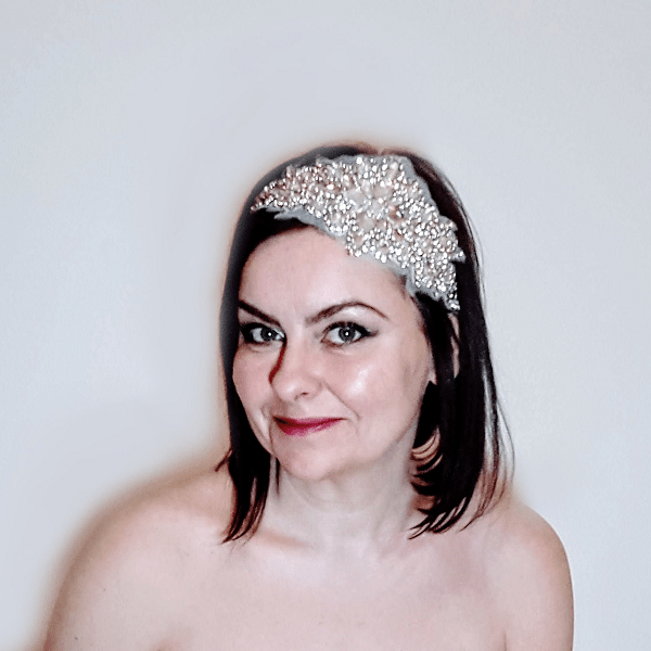Crystal applique bridal headpiece small