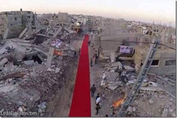 Despliegan alfombra roja entre ruinas de Gaza