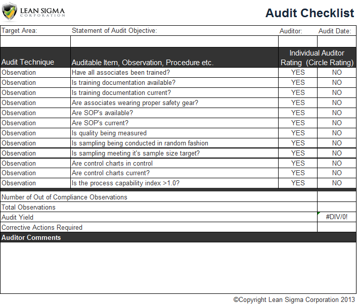Audit Checklist Template Excel  financial ac1050 3  vehicle