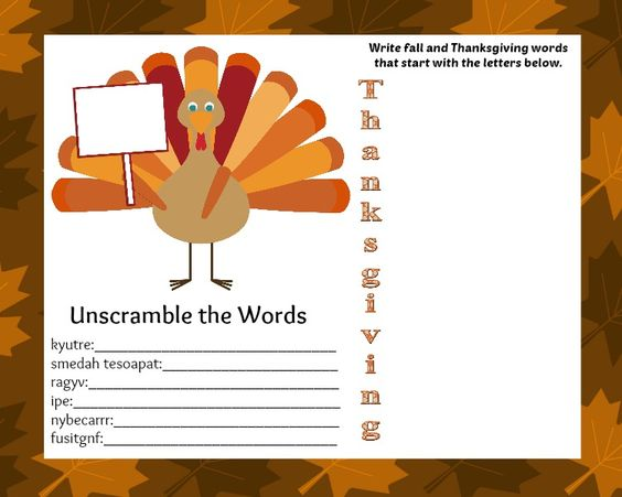 thanksgiving activity placemat kids