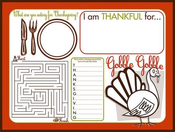 thanksgiving placemat kids