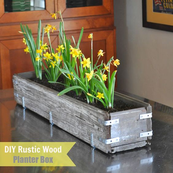 spring wood box decor