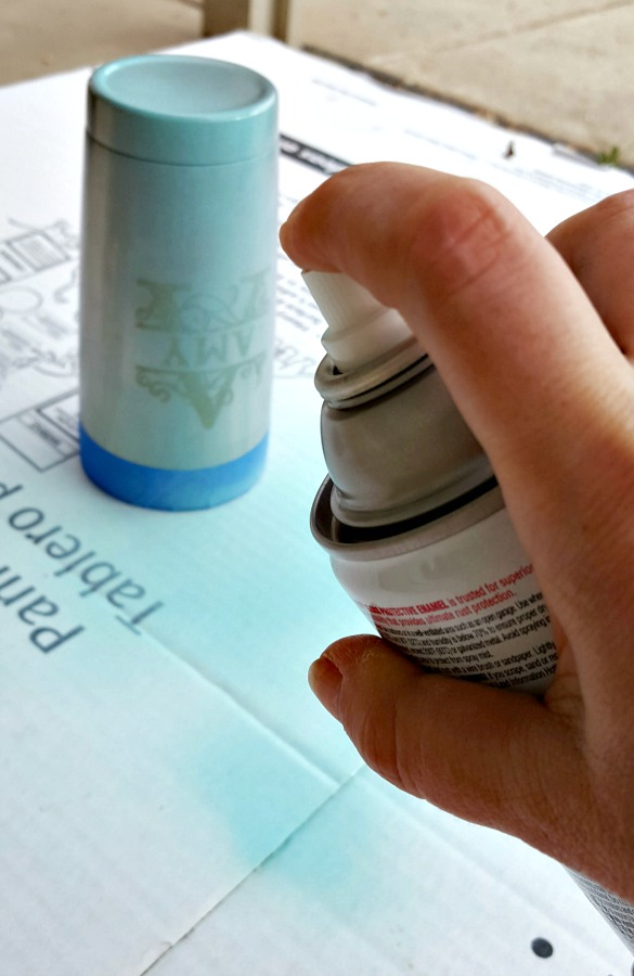 spray painting stainless steel mug