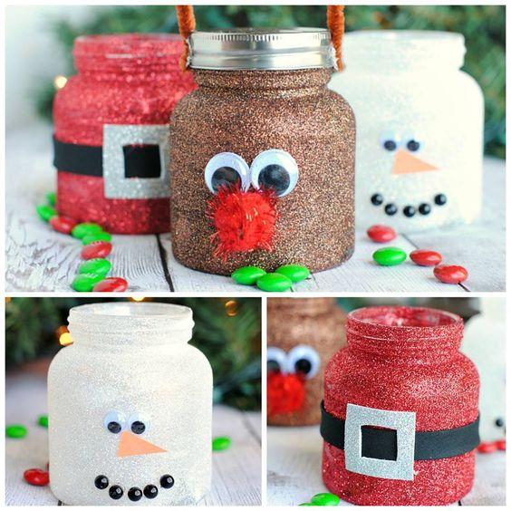 glitter christmas jars