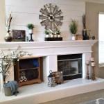 Benjamin Moore White Dove fireplace