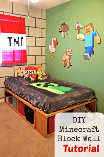 DIY Minecraft Bedroom Wall Block tutorial