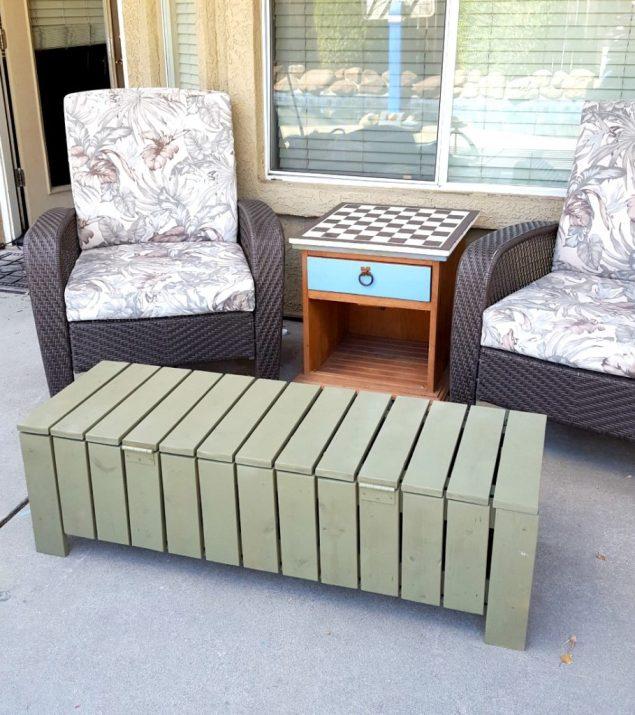 DIY outdoor coffee table storage bench outdoor