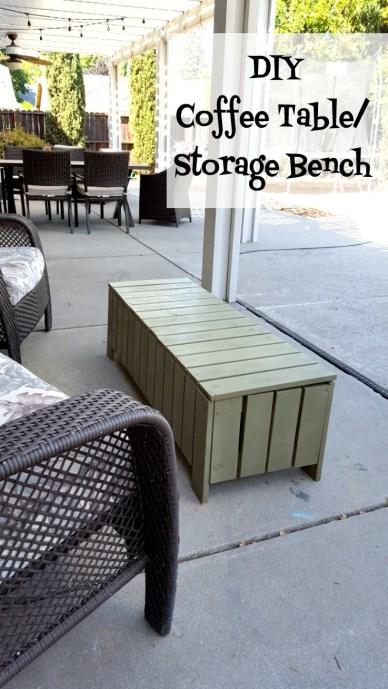 DIY coffee table storage bench