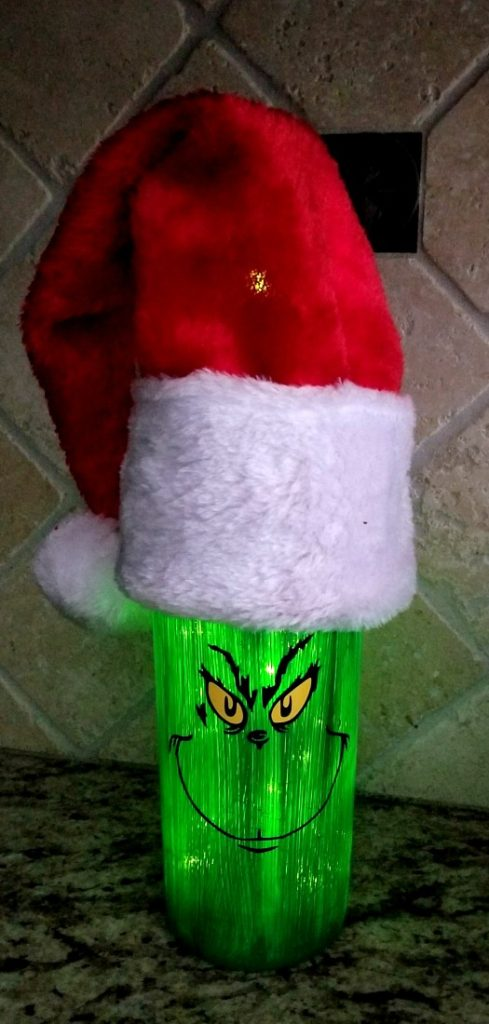 grinch bottle with lights