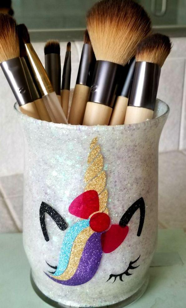 cute makeup brush holders DIY unicorn