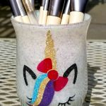 Cute Makeup Brush Holders DIY with Glitter!