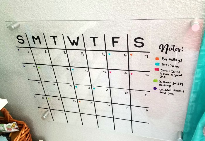 diy acrylic wall dry erase calendar
