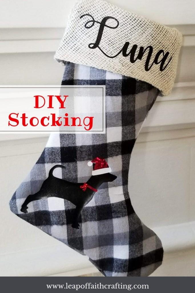 buffalo plaid stockings pin