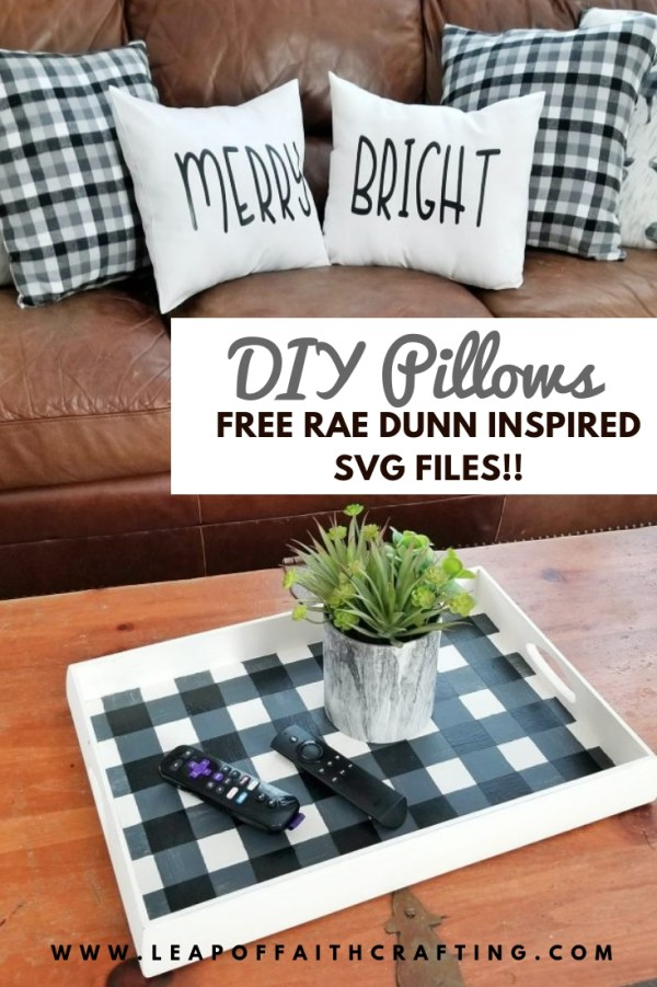 Make your own DIY holidays pillows with this free Cricut file inspired by Rae Dunn Christmas. Learn how to make the easiest pillow cover ever! #christmas #pillow #diy
