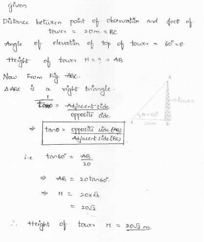 RD-Sharma-class 10-maths-Solutions-chapter 12 - Applications of Trigonometry -Exercise 12.1 -Question-1