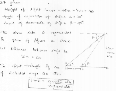 RD-Sharma-class 10-maths-Solutions-chapter 12 - Applications of Trigonometry -Exercise 12.1 -Question-29