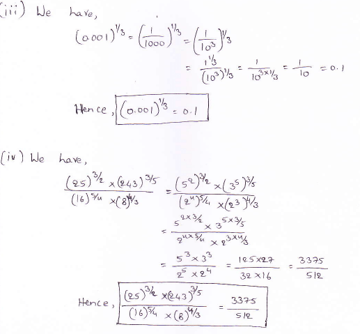 RD Sharma class 9 maths Solutions chapter 2 Exponents of Real Numbers Question 2 (iii) (iv)