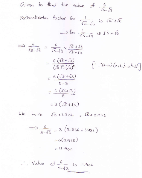 RD Sharma class 9 maths Solutions chapter 3 Rationalisation Exercise 3.2 Question 9