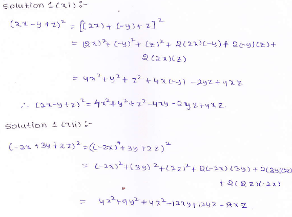 RD Sharma class 9 maths Solutions chapter 4 Algebraic Identities Exercise 4.2 Question 1 (xi) (xii)